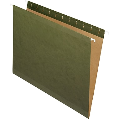 Staples® 100% Recycled Reinforced Hanging File Folder, Letter Size, Green