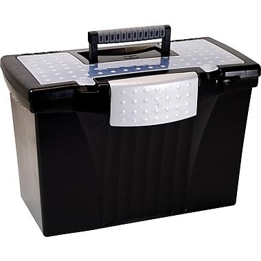 Storex Letter/Legal Portable File Box, Black
