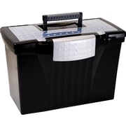 Storex Letter/Legal Portable File Box, Black