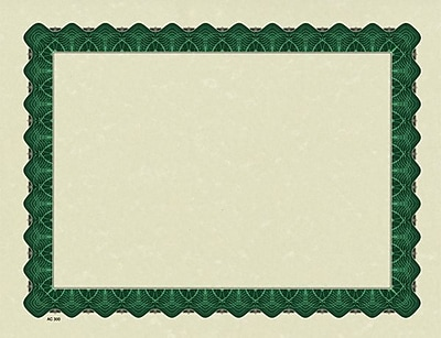 Masterpiece Studios® Parchment Certificates, Green Border, 100 Sheets Per Pack