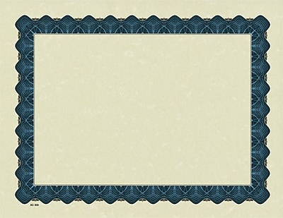 Great Papers® Parchment Certificates with Metallic Blue Border, 25/Pack
