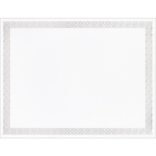 Great Papers® Silver Braided Foil Border Certificate, 15