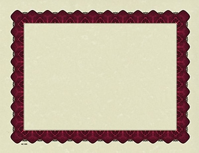 "Masterpiece Studios Metallic Parchment Certificates, 60-lb., Red, 8 1/2"" x 11"", 100/Pk"