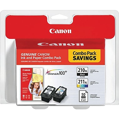 Canon PG-210XL Black and CL-211XL Color Ink Cartridges & Photo Paper (2973B004), Combo 2/Pack