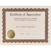"Masterpiece Studios Appreciation Certificate, 65-lb., Gold Metallic Border, 8 1/2"" x 11"", 6/Pk"