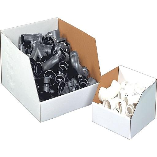 """12(L) x 24(W) x 12(H)"""" Open Top Bin Boxes, White, 50/Bundle (BSBINJ122412)"""
