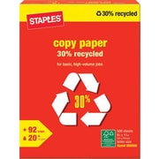 "Staples 30% Recycled Copy Paper, 8 1/2"" x 11"", White, 500/Ream (112350/1542)"