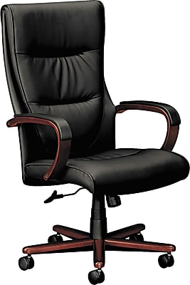 basyx by HON Leather Executive Office Chair, Fixed Arms, Black/Mahogany (HVL844NSP11.COM)