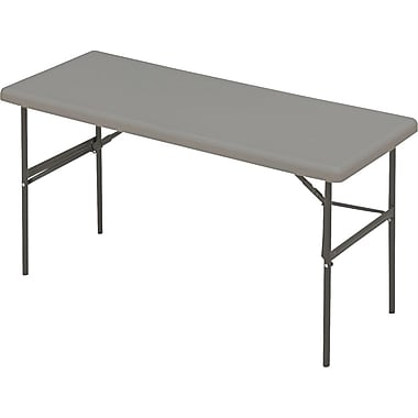 Iceberg 5' Utility-Grade Resin Folding Banquet Table, Charcoal