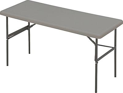 Iceberg 5' Utility-Grade Resin Folding Banquet Table, Charcoal