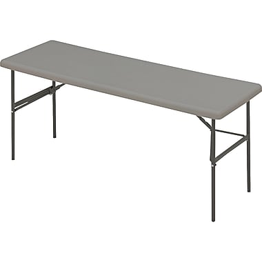 Iceberg 6' Utility-Grade Resin Folding Banquet Table, Charcoal, 24