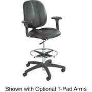 Safco Apprentice II Leather Computer and Desk Office Chair, Adjustable Arms, Black (7084BL)
