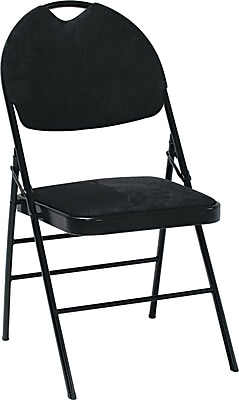 Bridgeport XL™ Fanfare™ Fabric Deluxe Folding Chairs, 4/Pack, Black |  Staples