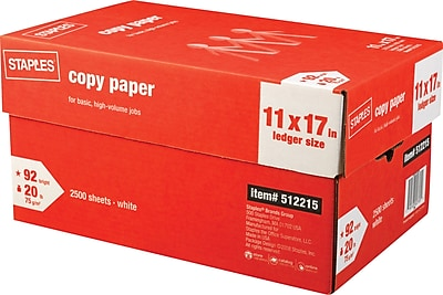 Staples® Copy Paper, 20 Lb., 92 Bright, 11