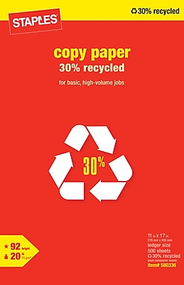 Staples 30% Recycled Copy Paper, 11