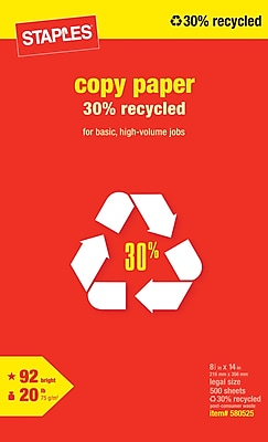 Staples® 30% Recycled Copy Paper, 8 1/2