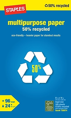 Staples 50% Recycled Multipurpose Paper, 8 1/2