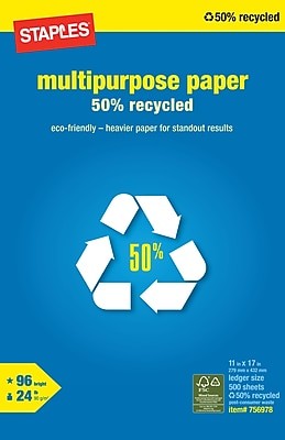 Staples 50% Recycled Multipurpose Paper, 11