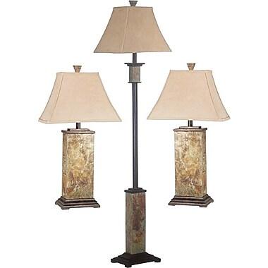 Kenroy Home Bennington Lamp Set, Natural Slate, 3/Pack