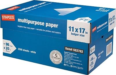 Staples® Multipurpose Paper, 20 Lb., 96 Bright, 11