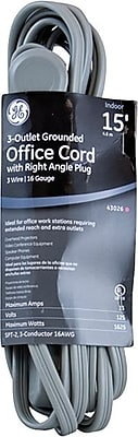 GE 15' 3-Outlet Grounded Office Extension Cord