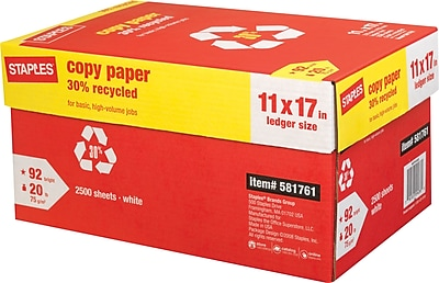 Staples® 30% Recycled Copy Paper, 20 Lb., 92 Bright, 11