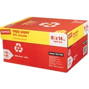"Staples® 30% Recycled Copy Paper, 20 Lb., 92 Bright, 8 1/2"" x 14"", White, 10-Ream Case (112380)"