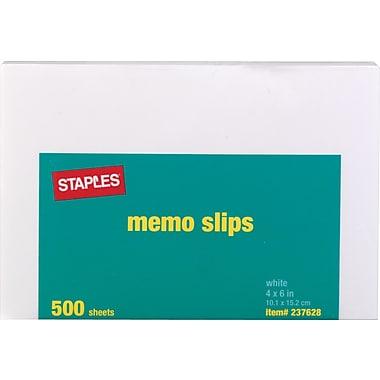 Staples Unpadded Memo Slips, 4