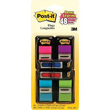 Post-it® - Languettes, 1 po avec onglets durables en prime de 1/2 po, couleurs variées, paq./248