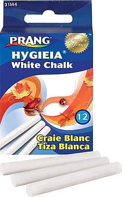 Prang® (Dixon Ticonderoga®) Hygieia Low Dust Chalkboard Chalk, White, 12/Box