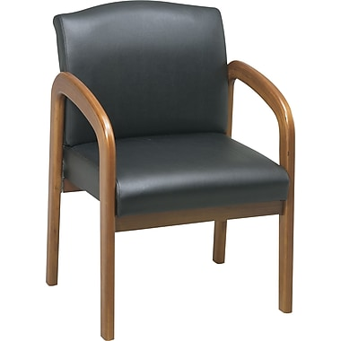 Office Star Medium Oak Wood Guest Chair, Black Faux Leather