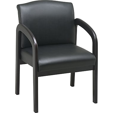 Office Star Espresso Wood Guest Chair, Black Faux Leather