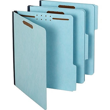 Staples® Pressboard Fastener Folders, Letter Size, Light Blue, 25/Box