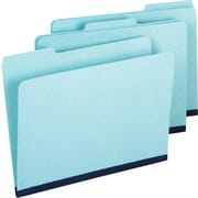 Staples Pressboard File Folders, 3 Tab, Letter, Blue, 25/Box