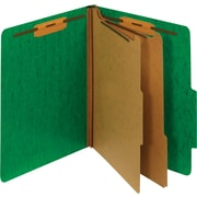Staples® Moisture-Resistant Classification Folders, 2/5 Cut Top Tab, 2 Partitions, 10/Box (PU61MDGRESB)