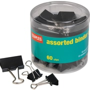 Staples® Metal Binder Clips, Black, Assorted Capacities