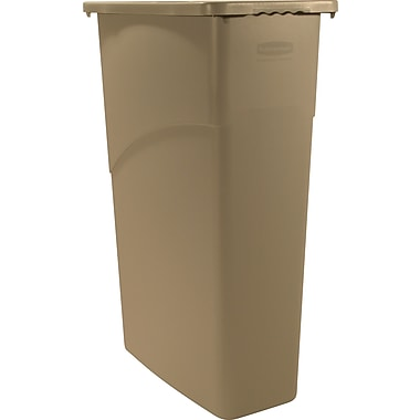 Rubbermaid® Slim Jim Wastebasket, Beige, 23 gal.