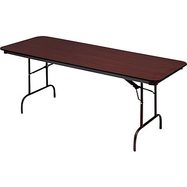 Iceberg 5' Heavy-Duty Melamine Folding Banquet Table, Mahogany
