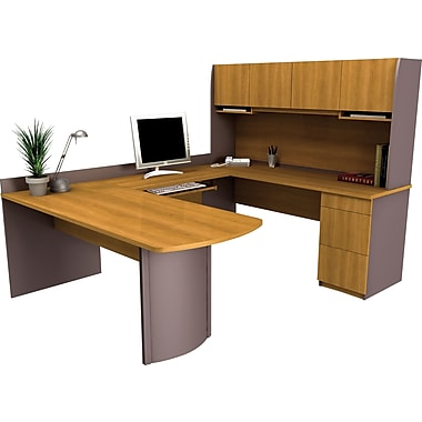 Bestar Executive Collection U-Shape Workstation, Cappuccino Cherry