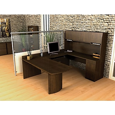 Bestar Executive Collection U-Shape Workstation, Chocolate