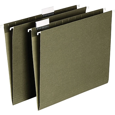 Staples® Hanging File Folders, Letter Size, 5 Tab, Tabs & Inserts Included, 25/Box