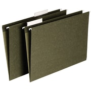 Staples® Hanging File Folders, Standard Green, 3 Tab, Tabs & Inserts Included, 25/Box