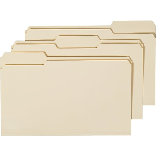 Staples Manila 3-Tab File Folders, Legal, Assorted Position, 100/Box, 5 Boxes/Ct (163360CT)