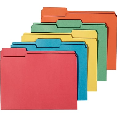 Staples® 100% Recycled Colored File Folders, Letter, 3 Tab, Assorted Positions, 50/Box