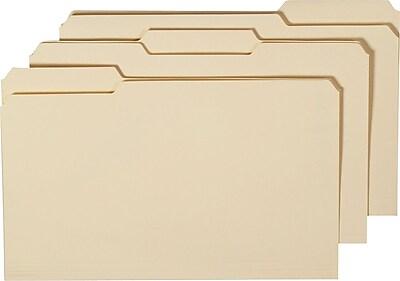 Staples Manila File Folders w/ Reinforced Tabs, 3 Tab, Legal, 100/Box