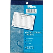 "Tops ""Avoid Verbal Orders"" Carbonless Manifold Book"