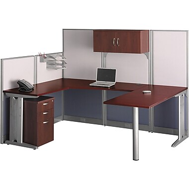 Bush Business Furniture Office in an Hour 89W x 65D U-Workstation with Storage and Accessory Kit, Hansen Cherry (WC36496-03STGK)