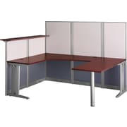 Bush Business Furniture Office in an Hour 89W x 65D U-Workstation, Hansen Cherry (WC36496-03KFA)