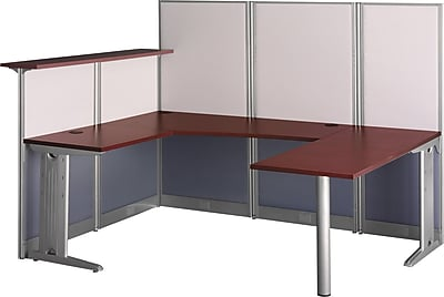 Bush Business Furniture Office in an Hour 89W x 65D U-Workstation, Hansen Cherry (WC36496-03KFA)