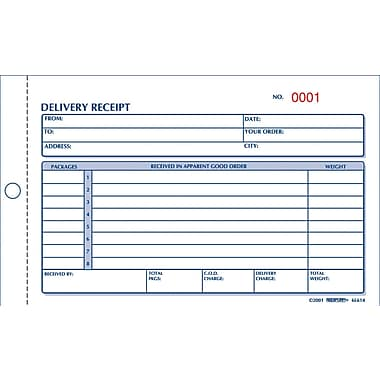 Rediform® Carbonless Delivery Receipt Books, 4 1/4  Delivery Receipt Form Template